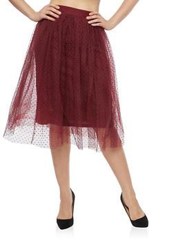 Velvet Polka Dot Mesh Skirt - 1406069391188