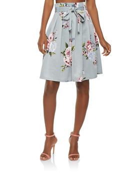 Pleated Floral Skater Skirt - 1406069391207