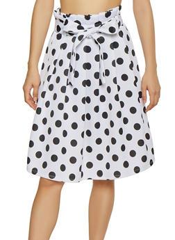 Polka Dot Paper Bag Waist Skater Skirt - 1406069391208