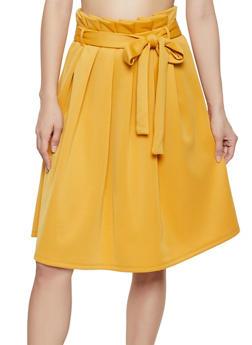 Paper Bag Waist Skater Skirt - 1406069391210