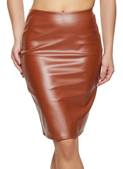 Zip Back Faux Leather Pencil Skirt - 1406069391273