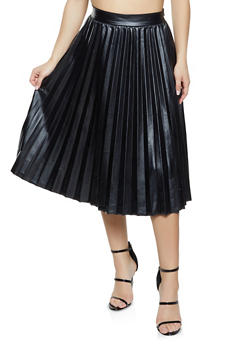 Pleated Faux Leather Skirt - 1406069391608