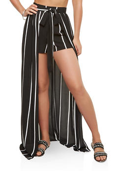 Striped Crepe Knit Shorts with Maxi Skirt Overlay - 1406069393121