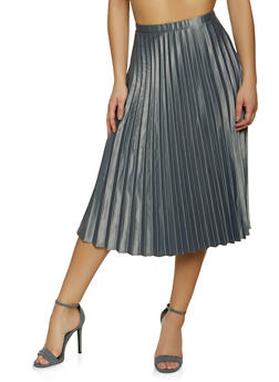Pleated Satin Midi Skater Skirt - 1406069394007