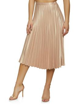Pleated Satin Midi Skater Skirt - 1406069394007