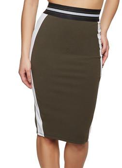 Color Block Elastic Waist Pencil Skirt - 1406069394023