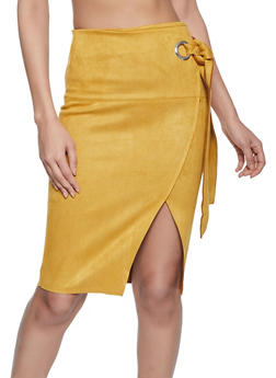 Faux Suede Side Tie Pencil Skirt - 1406069394032