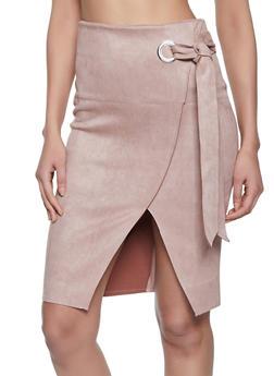Faux Suede Side Tie Pencil Skirt - 1406069394032