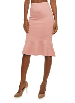 Ponte Pencil Skirt with Flounce Hem - 1406069394100