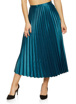 Pleated Satin Maxi Skirt - 1406069395405