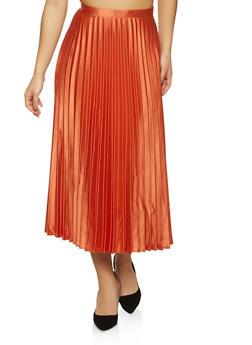 Pleated Satin Maxi Skirt - 1406069395405