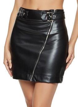 Asymmetrical Zip Faux Leather Skirt - 1406069396080