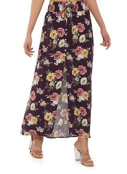 Floral Front Slit Maxi Skirt - 1406069396501