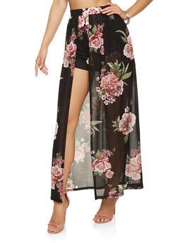 Floral Mesh Maxi Shorts - 1406069396921