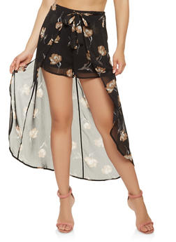 Floral Tie Front Maxi Shorts - 1406069396924