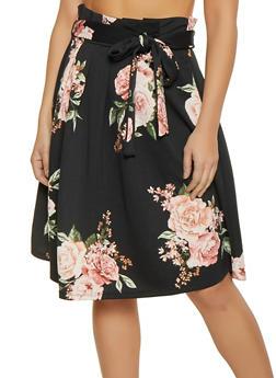 Floral Paper Bag Waist Skater Skirt - 1406069397492
