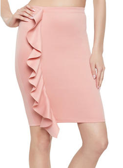 Ruffled Pencil Skirt - 1406072240723