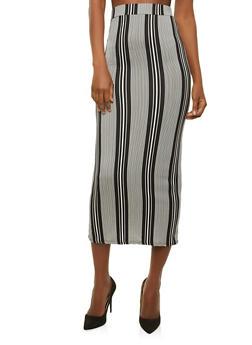 Soft Knit Striped Maxi Skirt - 1406072241024