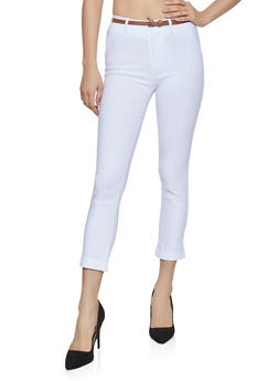 Belted Stretch Dress Pants - 1407054210719