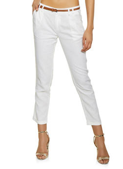 377ff39faff Belted Linen Pants - 1407054210932