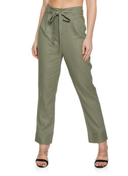 Tie Paper Bag Waist Linen Trousers - 1407054211482