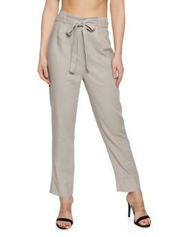 Tie Paper Bag Waist Linen Trousers - 1407054211482