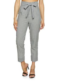 Striped Linen Tie Front Pants - 1407054211483