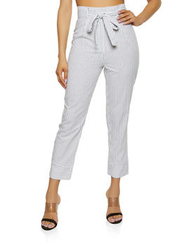 Striped Linen Tie Front Pants - 1407054211483