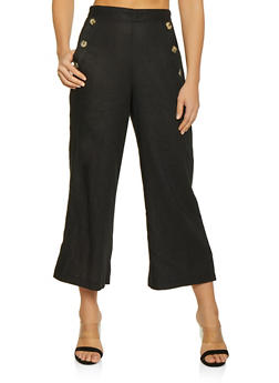 Button Pocket Linen Gaucho Pants - 1407054211506