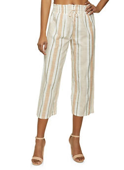Cropped Linen Striped Pants - 1407056120037