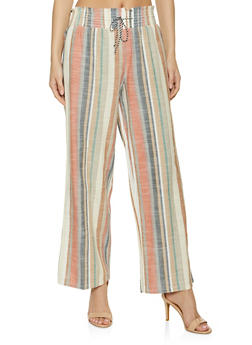 Striped Wide Leg Linen Pants - 1407056123005