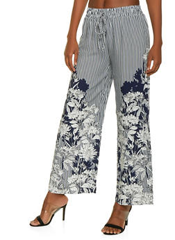 Striped Floral Palazzo Pants - 1407056129276