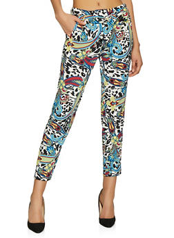 Printed Tie Front Pants - 1407056570090