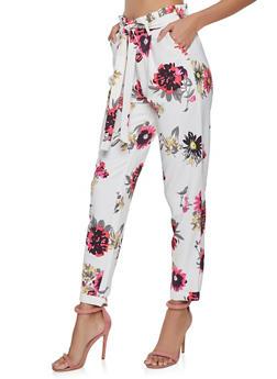 Floral Paper Bag Waist Pants - 1407056570368