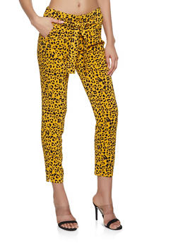 Leopard Print Tie Front Pants - 1407056570992