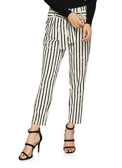 Striped Chain Tie Front Pants - 1407056570993
