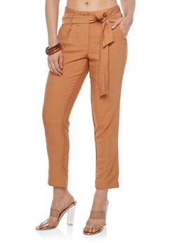 Tie Belt Linen Pants - 1407056571122