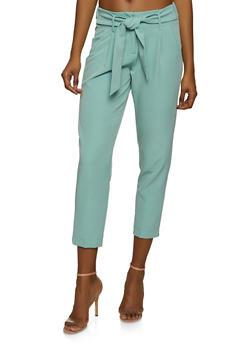 Tie Waist Straight Leg Dress Pants - 1407056571222