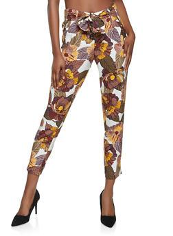 Floral Tie Waist Linen Pants - 1407056571333