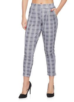 Plaid Cuffed Trousers - 1407056571506
