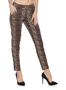 Pull On Leopard Print Pants - 1407056572161