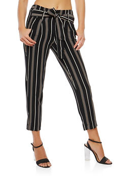 Striped Tie Waist Pants - 1407056572214