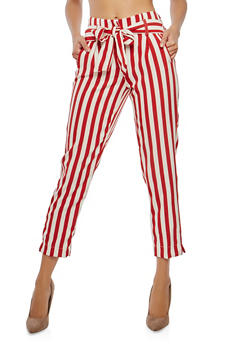 Striped Tie Waist Pants - 1407056572214