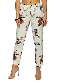 Tie Waist Floral Linen Pants - 1407056572221