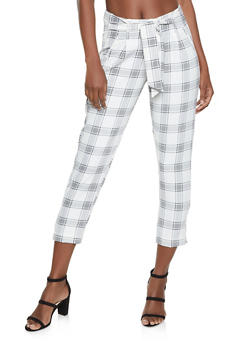 Plaid Tie Front Dress Pants - 1407056572254
