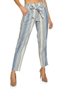 Striped Linen Pants - 1407056572312