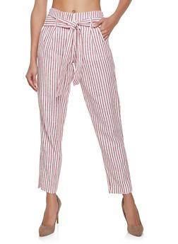 Striped Linen Pants - 1407056572312