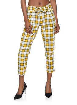 Tie Front Plaid Dress Pants - 1407056573233