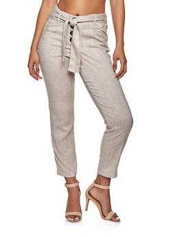 Tie Waist 4 Button Linen Pants - 1407056573313