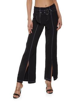 Belted Split Hem Flared Pants - Black - Size M - 1407056573806